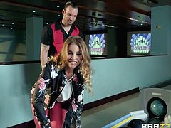 This milf likes her dicks really big. She is teasing this dude with her cute butt, because she wants his big cock. After some sexy bowling she sucks this dude off right there in the bowling alley. This is some hot action.
