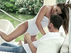 Hungarian beauty Amirah Adara gives a blowjob in the garden and gets her anus banged