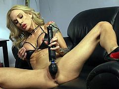 Sarah Jessie has the age and experience that comes with it. She has the sexual energy and desire. The only thing she doesn't have right now is a cock, but a vibrator and some selected machines can fix that problem. What will be used on her? Watch and find out!