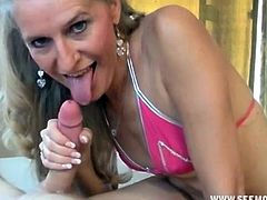 While her clumsy and exhausted husband is sleeping in the other room, this horny wife calls up some lucky guy for some cum fun. She warns him that it should be a quickies and should not wake up her husband.
