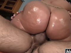 Oiled up cutie is getting drilled