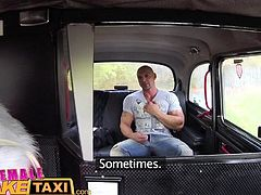 Female Fake Taxi Bodybuilder makes busty blonde cum in taxi