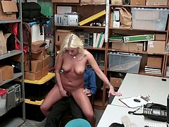 Shoplifting chick Daisy Lee is punished by one kinky policemen in the back room