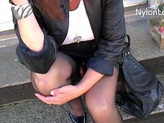 Wife waiting for bus , stockings and no pantie upskirtr