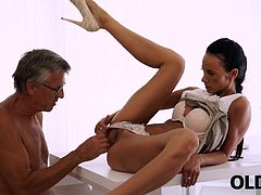 Liliane fell in love with her older boss since first working day. This tall and handsome man over sixty was in her wet dreams all the time. They left together in office one day coz of big project and finally he gave her what she wants... Their sex was wonderful and passionate - he took her right on an office table... His grey hair drives Liliane crazy - her pussy was so wet when his dick came in! And than she swallowed his big old dick on the couch, swallowed so deep, so she almost can't breathe, but she likes it...