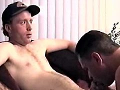 After I work on his throbbing cock for a while, straight boy Johnny tells me it feels good, so I decide its time to kick it up a notch. When I grab his hand and make him stroke my cock, Johnny has other ideas. He stands and fucks my mouth until he plasters my face with his cum load. But now it gets interesting. Johnny starts jerking me off. Then I end up in the chair and hes on his knees blowing me. In no time hes making me bust a killer nut.