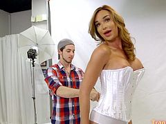 When shemale Jonelle Brooks visited the shooting session, photographer became her sissy slut. Jonelle loves turn guys into her sluts, she loves to break their cherries with her rock-hard cock!