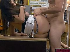 Naughty Sophie Leon gets fucked in the office for cash