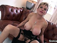 Unfaithful british milf lady sonia flashes her oversized bal