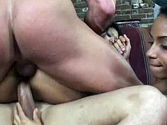 Hot group anal couple with perfect latina brunette in lingerie