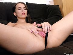 Skinny brunette is very busy with her classes at the moment and she has no time for searching a boyfriend but she still craves for sex. So, when she gets some free time and stays alone at home, she takes her pussy with her fingers.