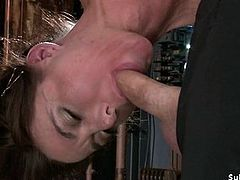 Busty slave brutal fucked bent over table