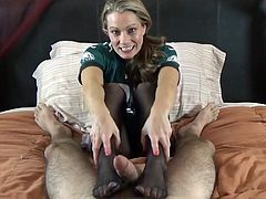 double pantyhose footjob 4
