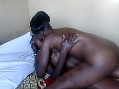 Amateur ebony lesbian couple eating out hairy pussy in family bedroom, secret homemade tape.