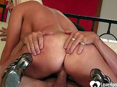 Blonde MILF takes hard it in various positions