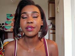Ebony woman pumps milk from her big areola