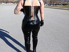 Shiny PVC Pants,High boots and leather Corset