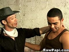 Horny cowboy fucks in horse stable. Touching his partners nipples while kissing, slowly licking themselves and sucking the yummy long cowboy cock.