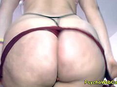 Huge ass, bubble butt Latina with leather panties is twerking her big ass and shaking it in front of the cam! She is horny and a vibe toy in her pussy is making her even more horny, she has big boobs and so big pussy! Masturbating and having fun with toys and her wet dripping pussy, she is leaking and having orgasm, so much liquid cumming from inside her!
