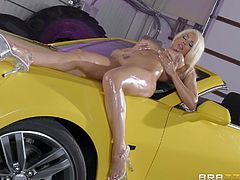 After getting extra oily from Xander, Luna bends over that car and gets that cock slide right between her cheeks. It's not enough for her, though, as she needs to taste her ass as well, sucking the flavor off of his throbbing cock.