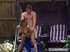 Hot couple caught fucking in the yard