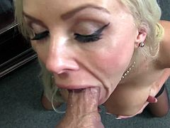 Nasty blonde Nina Elle bends over for a hardcore fuck