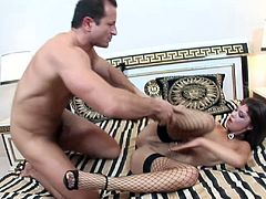 Stunning hooker in fishnets Angelina Crow gets her anus banged