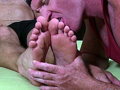 Sock smelling homo services hunk feet with passionate tongue