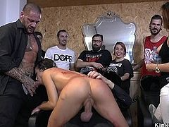 Hot ass slave gangbangs in public