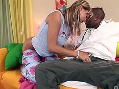Kinky black doctor fucks yummy blond babe Blue Angel and cums in her mouth