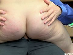 Red haired yummy gal April Reid gets her pussy punished in the back room