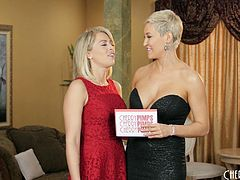 Hot Zoey Monroe and another girl talk about how hard their jobs are