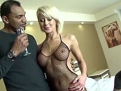Mature blonde wife cheating on husband with black man he watches them fuck