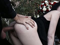 Widower fucks nasty and sex hungry Marley Brinx right at the funeral