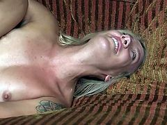 This bound blonde babe is going to take her punishment, that her jealous man had prepared for her. Naked, with her legs spread wide and bound in rope, Sophia Grace gets tortured and fucked. Join and have fun!