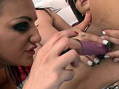 Three big-titted brunettes finger themselves in bed