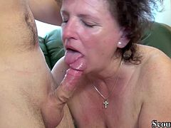 GERMAN BBW GRANNY SEDUCE YOUNG BOY TO FUCK HER HAIRY PUSSY