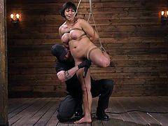 Busty Asian, Mia Little, will receive her portion of rough bdsm pleasures and her first brutal orgasm today. She gets hard metal clamps on her big nipples and on her plump pussy lips... Want to see more? Join!
