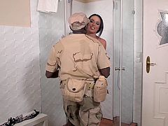 Privates dream comes true when busty bombshell Anissa Kate