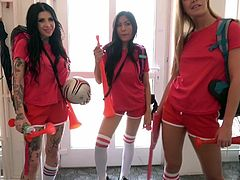Fake Hostel Italian, Thai and Czech soccer babes squirting i