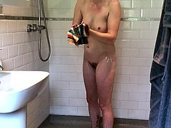Brunette Changing in Bathroom Pissing and taking Shower
