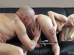 Wow! What a disgusting dad! This is incredible! He fucked his son's girlfriend and behaves like it's normal. Watch the slutty blonde sucking his dick and balls with great passion. Relax and enjoy impetuous sex action!