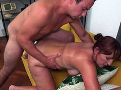 The busty redhead mature moans in pleasure, as his fat cock drills her wet pussy from behind. Her big ass and huge titties shake with every stroke and... Join to know more! Relax and enjoy impetuous sex action!