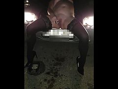 Sexy wife exposed at dual carriageway layby squirting