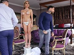 This slutty babe needs new fans and their enthusiastic views, and this is the reason why she cheats on her husband once again, right behind his back. She sucks on Keiran's huge and thick cock, counting on passionate sex...