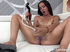Puffy nipples girl plunges a toy into her wet pussy