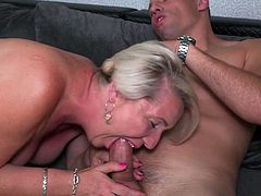 Gasha likes big fat dicks, no matter how old she is and to get one for her itching pussy, she's ready for anything. The mature blonde sensually licks and sucks this guy's cock, just to get it in her juicy cunt and to ride it hard. Hot stuff!