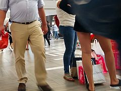 Candid voyeur thick PAWG and friend at mall hot
