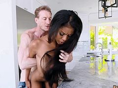 Gorgeous Black girl fucked in kitchen by white guy
