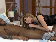 Karina Grand never tried sex with black guys and therefore, it is not surprising that when she had such a chance, she did not think long. She jumped on this ebony stud and sucked his big black cock to the last drop